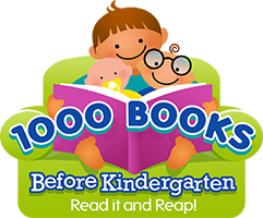 Image of children reading a book.  1000 books Before Kindergarten. Read it and Reap!